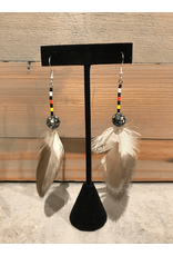 Amber Evans Feather Round Ball Beaded Earring
