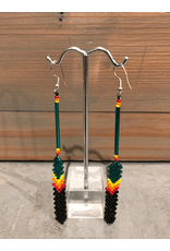 Evans, Amber Green Feather Beaded Earring