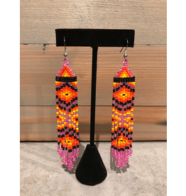 Amber Evans Pink, Orange And Black Beaded Earring