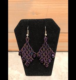 Evans, Amber Purple Beaded Earring