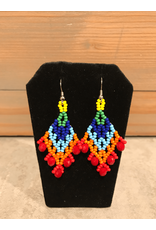 Evans, Amber Red And Blue Beaded Earring