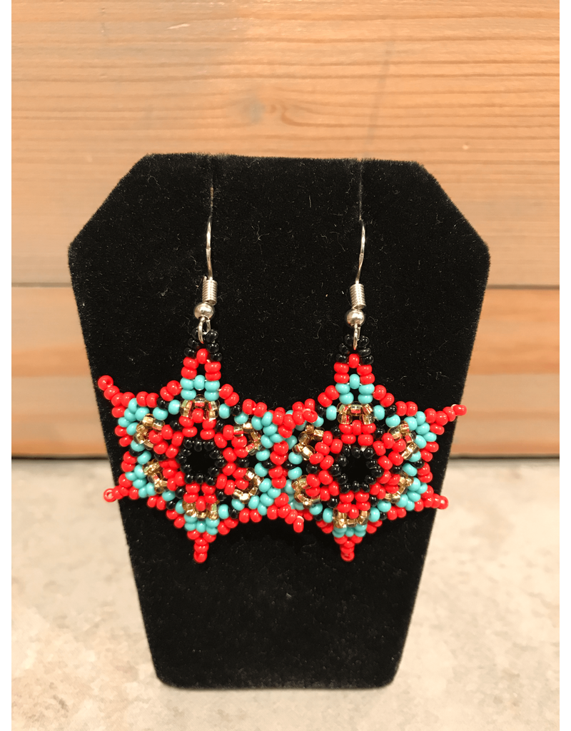 Amber Evans Red And Blue Star Beaded Earring