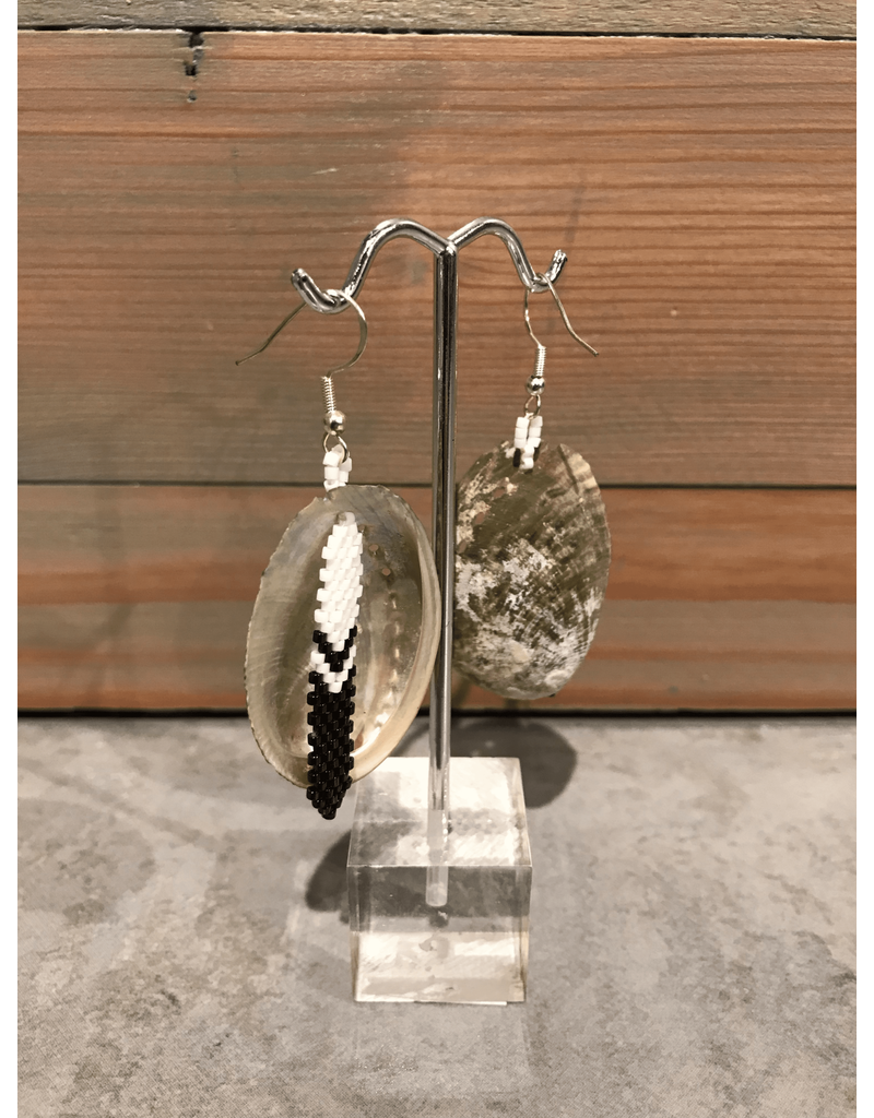 Evans, Amber Shell With Feather Beaded Earring
