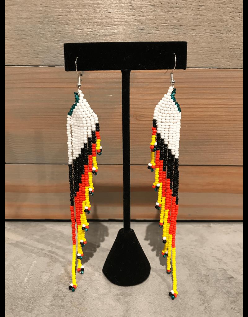 Evans, Amber White Black & Yellow Long Beaded Earring