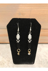 Amber Evans Beaded Birth Stone Feather Earrings