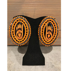 Evans, Amber Beaded Orange ECM Hand Earrings