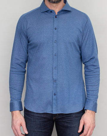 Desoto Desoto Long Sleeve Bird's Eye Blue Shirt