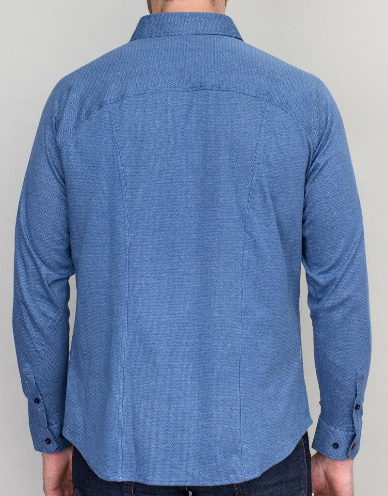 Desoto Desoto Long Sleeve Bird's Eye Light Blue Shirt