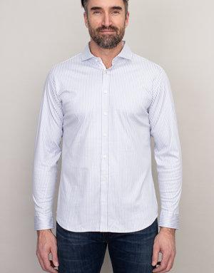 Desoto Desoto Long Sleeve Grey Pinstripe Shirt