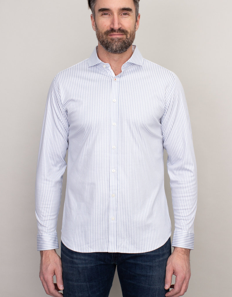 Desoto Long Sleeve Grey Pinstripe Shirt