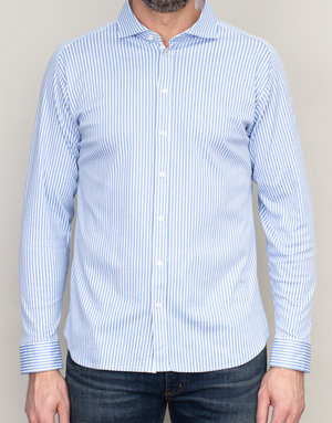 Desoto Desoto Long Sleeve Blue Pinstripe Shirt
