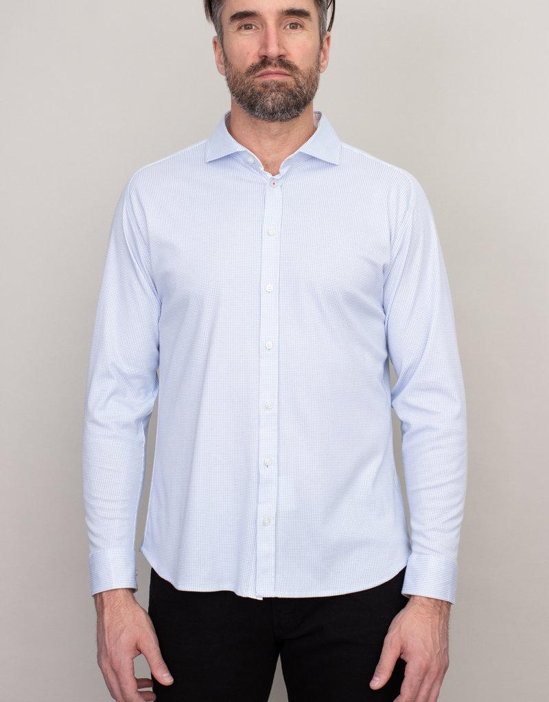 Desoto Desoto Long Sleeve Light Blue Houndstooth Shirt