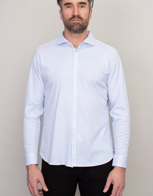 Desoto Desoto Long Sleeve Blue Houndstooth Shirt