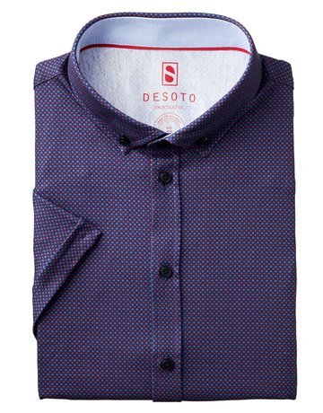 Desoto Desoto Short Sleeve Button Up Red-Blue dots