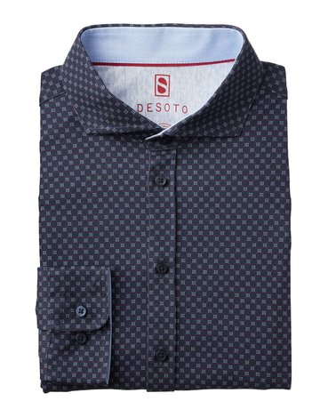 Desoto Desoto Long Sleeve Scattered Dots Navy