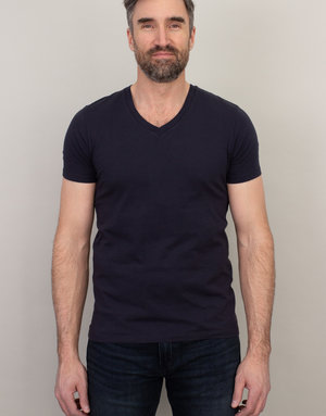 Samsoe Samsoe V-Neck Basic T-Shirt Dark Blue
