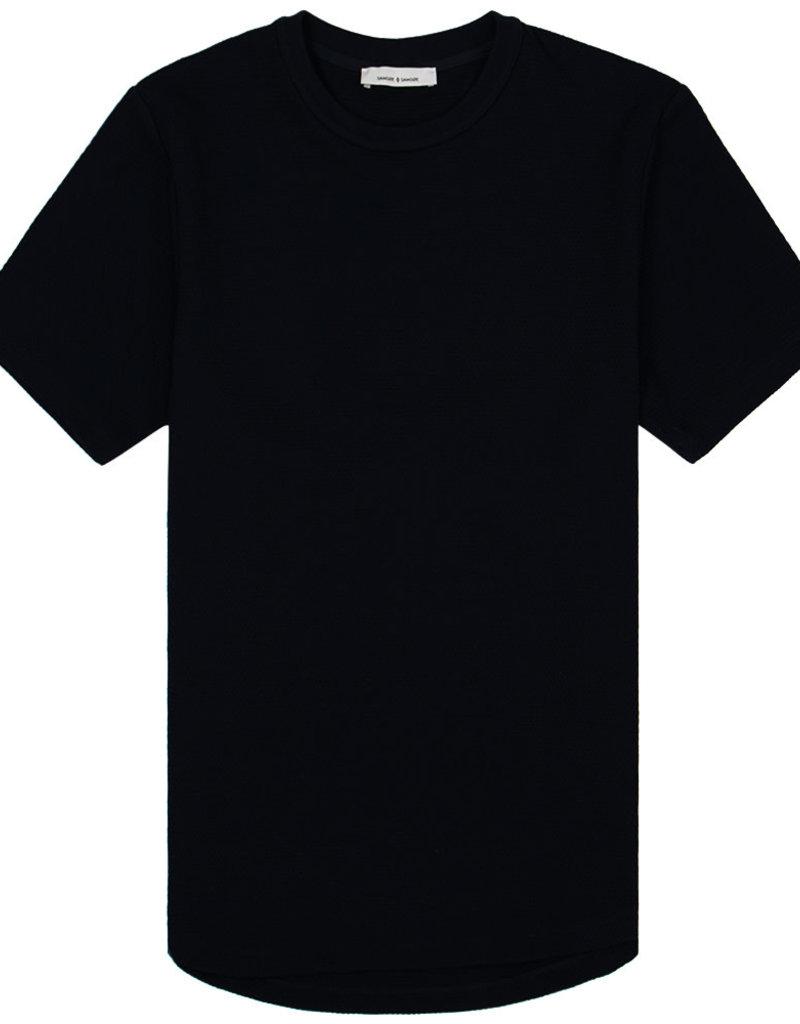 Samsoe Samsoe Waffle Crew Neck T-Shirt Navy