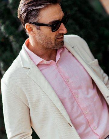 Ordean Cotton Linen Shirt Pink