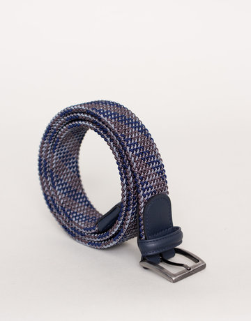 Anderson's Woven Stretch Belt Grey / Blue / Brown