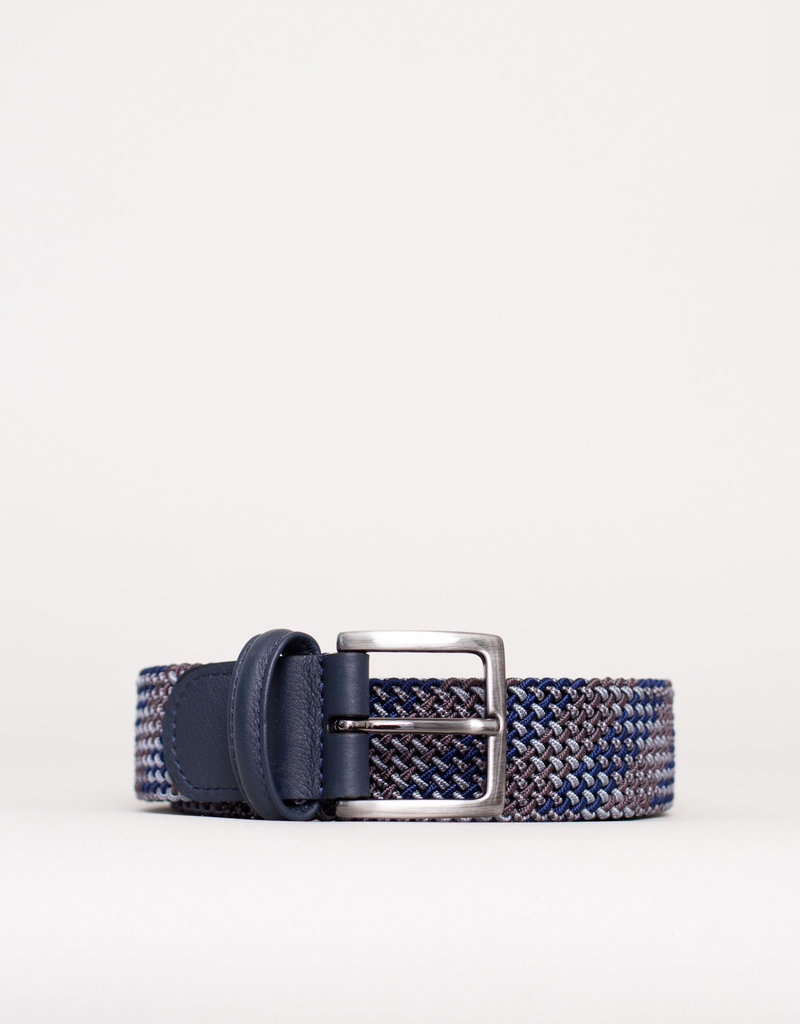 Anderson's Belts and Wallets Anderson's Woven Stretch Belt Grey / Blue / Brown