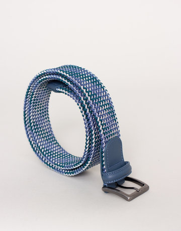 Anderson's Anderson's Woven Stretch Belt Turquoise Grey