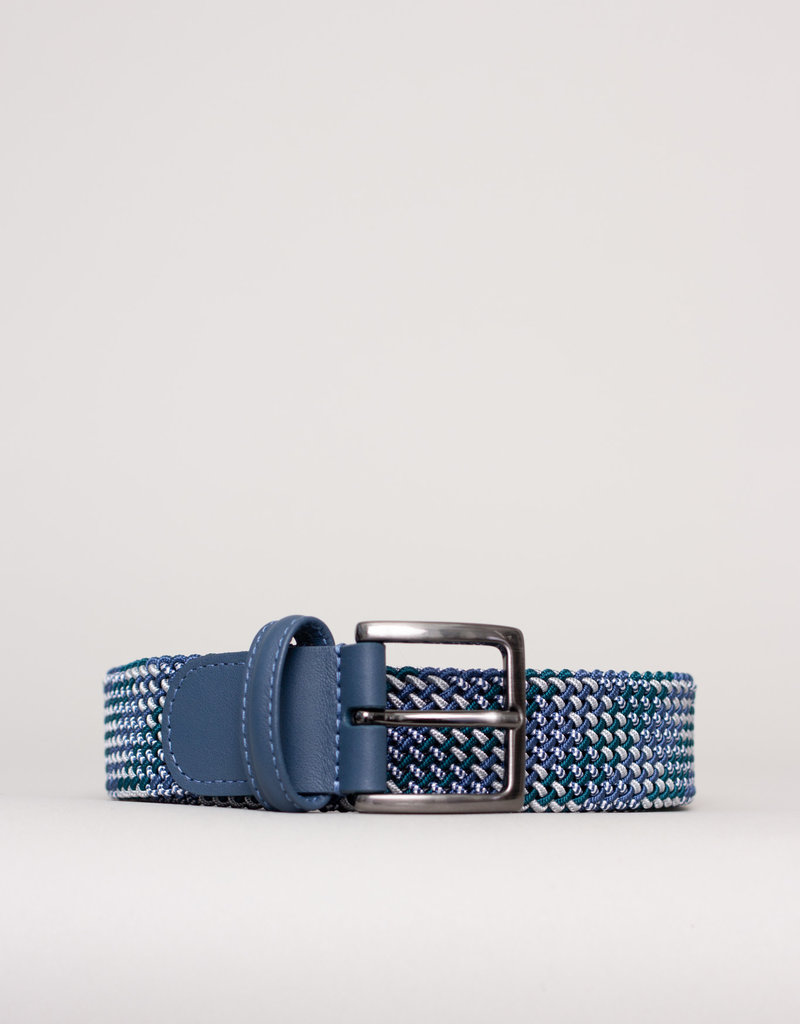 Anderson's Belts and Wallets Anderson's Woven Stretch Belt Turquoise Grey