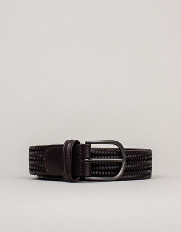 Anderson's Woven Stretch Leather Belt Dark Brown
