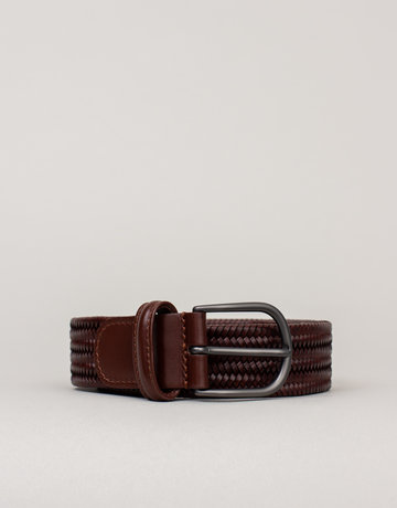 Anderson's Anderson's Woven Stretch Leather Belt Brown