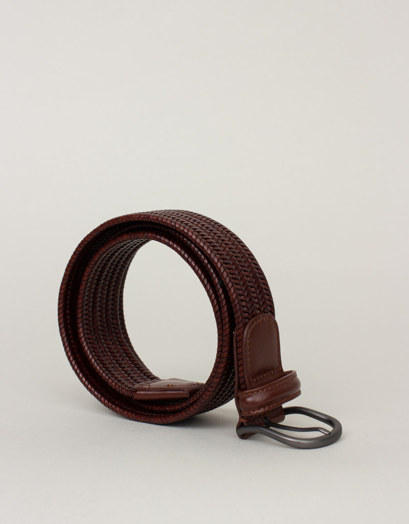 Anderson's Belts and Wallets Anderson's Woven Stretch Leather Belt Brown