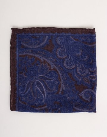 Paolo Albizzati Pocket Square Brown & Navy Paisley