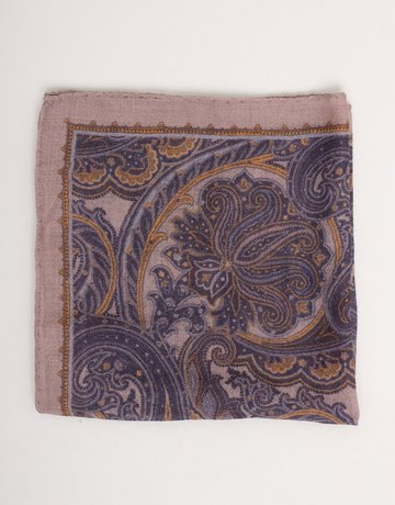 Paolo Albizzati Pocket Square Grey and Navy Paisley