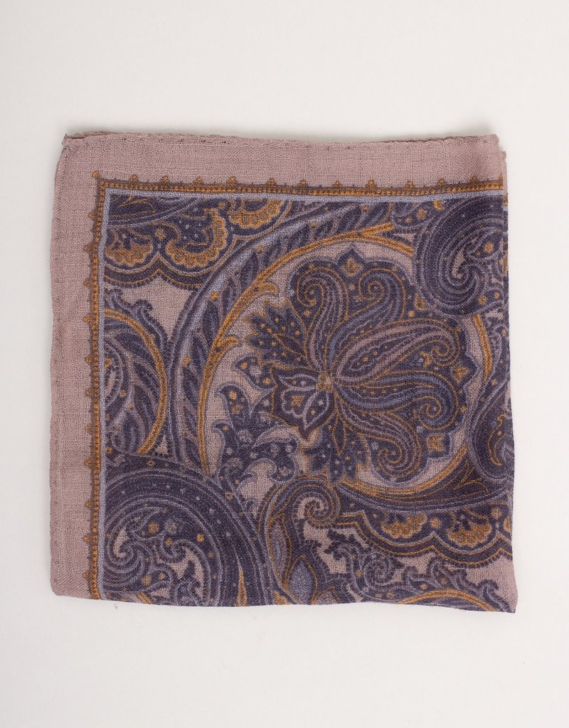 Paolo Albizzati Paolo Albizzati Pocket Square Grey and Navy Paisley