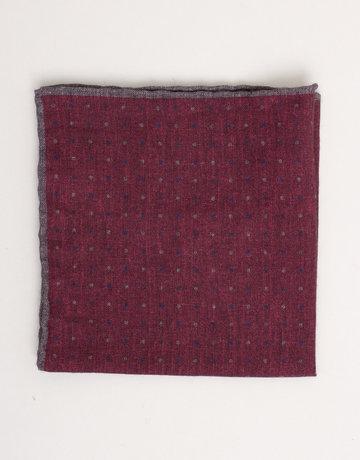 Paolo Albizzati Pocket Square Burgundy w/ Polka Dots