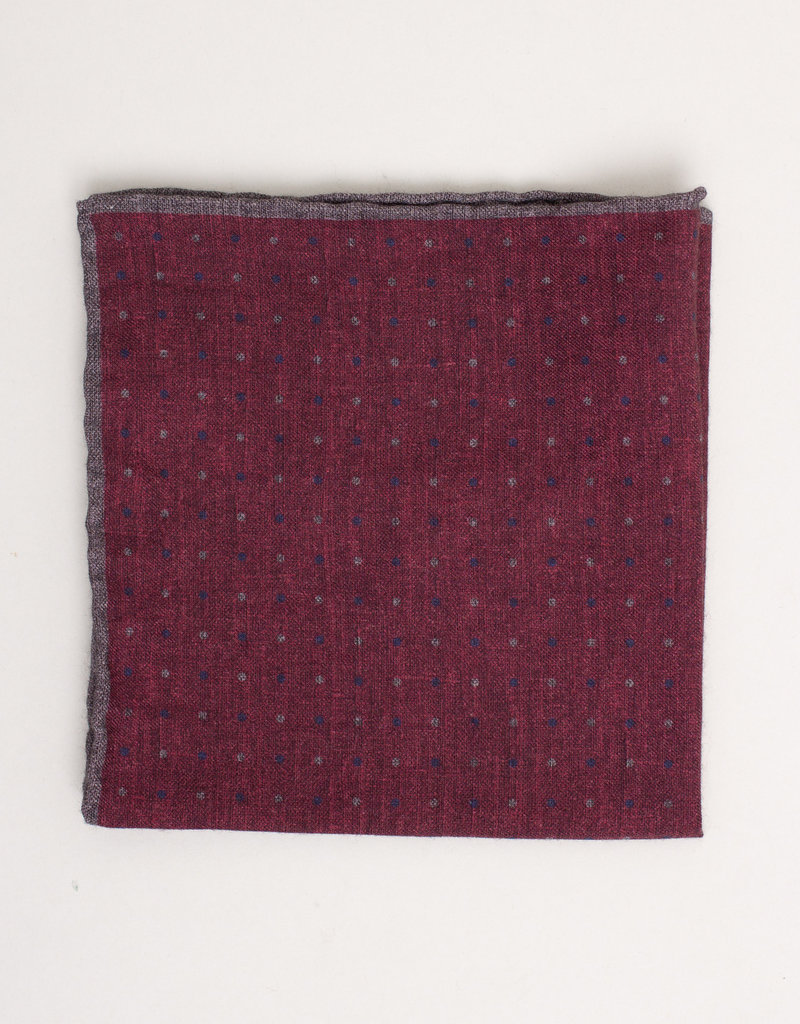 Paolo Albizzati Pocket Square Burgundy w/ Polka Dots