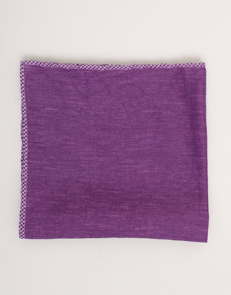 Paolo Albizzati Pocket Square Purple Linen