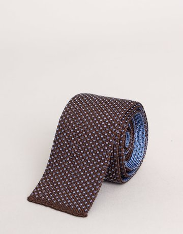 Paolo Albizzati Knit Tie Brown Speckled Blue