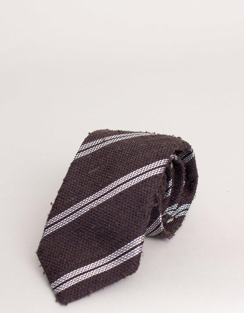 Paolo Albizzati Tie Dark Oak Double Stripe