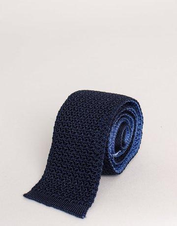 Paolo Albizzati Knit Tie Navy & Sky Blue