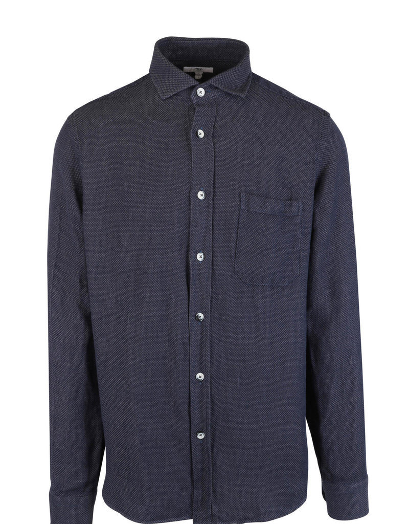 Inis Meain Inis Meain Button Up Shirt Linen Navy