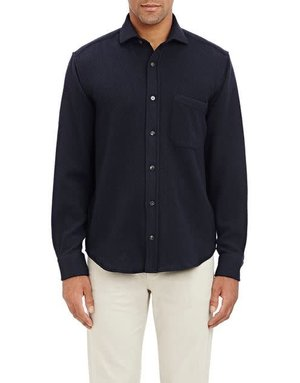 Inis Meain Inis Meain Button Up Linen Navy