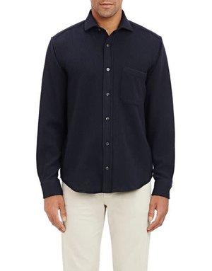 Inis Meain Inis Meain Button Up Shirt Linen Navy