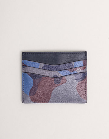 Anderson's Leather Card Holder Wallet Blue Camouflage