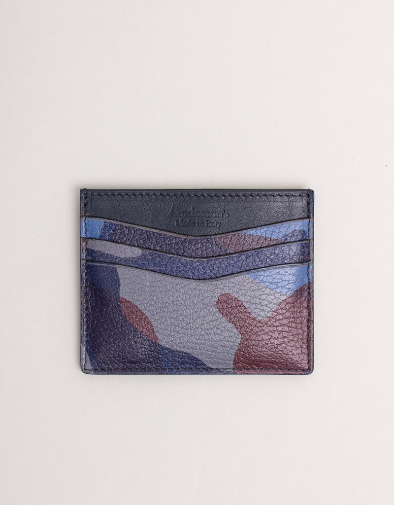 Anderson's Belts and Wallets Anderson's Leather Card Holder Wallet Blue Camouflage