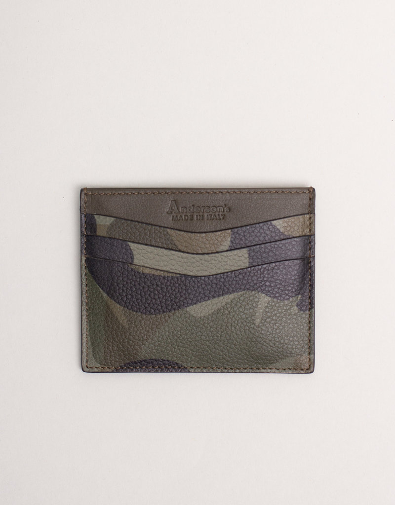 Anderson's Leather Card Holder Wallet Green Camouflage