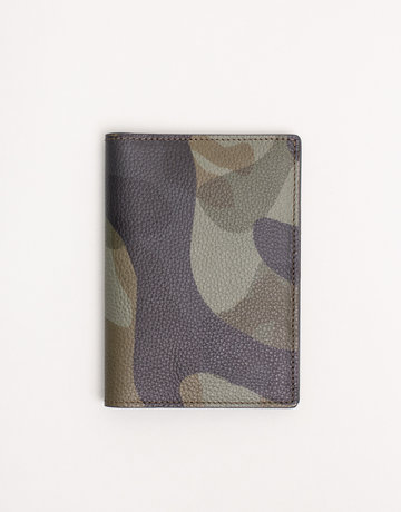 Anderson's Anderson's Leather Passport Holder Green Camouflage