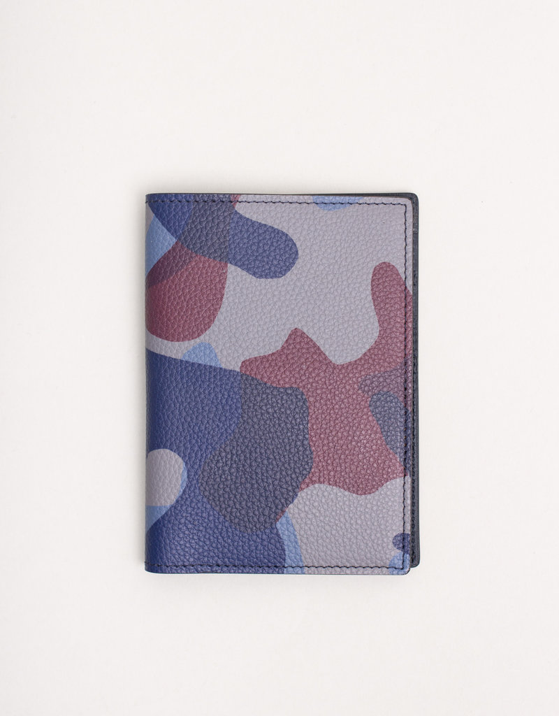 Anderson's Belts and Wallets Anderson's Leather Passport Holder Blue Camouflage
