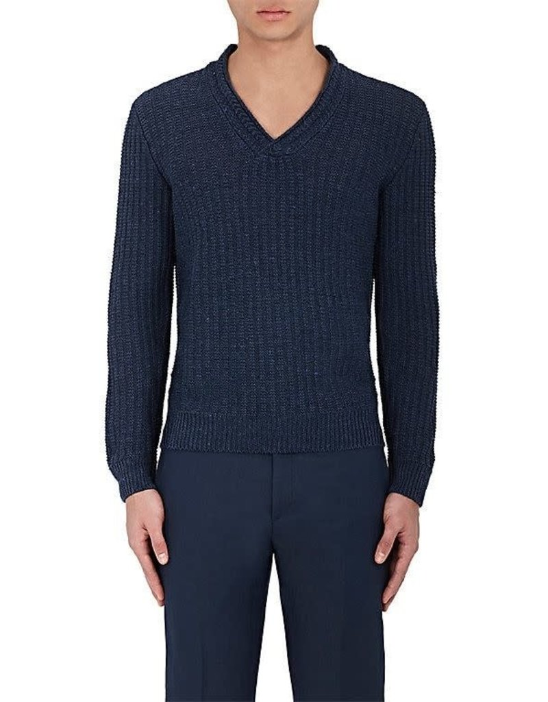 Inis Meain Inis Meain V-Neck Cable Knit Orion Blue
