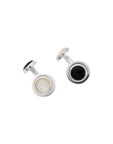 Turnbull & Asser Turnbull & Asser Reversible Cufflinks Onyx and Pearl