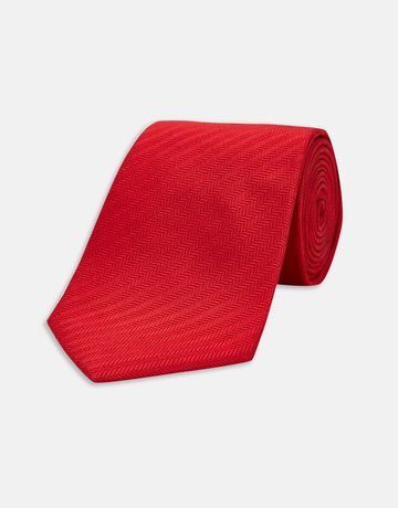 Turnbull & Asser Turnbull & Asser Tie Electric Red Herringbone