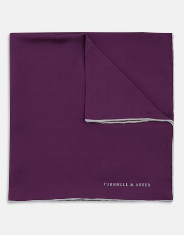 Turnbull & Asser Turnbull & Asser Pocket Square Purple with Cream Trim